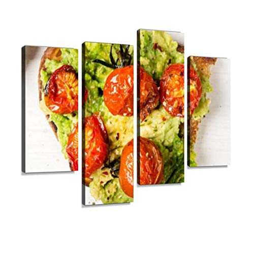 (White sourdough Bread, Such as Avocado and Roasted Tomatoes toasts Canvas Wall Art Hanging Paintings Modern Artwork Abstract Picture Prints Home Decoration Gift Unique Designed Framed 4 Panel )