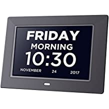 Day Clock Extra Large Impaired Vision Digital Clock Dementia with Time, Day and Date, Month and Year showing, Calendar/Photo Display Function, for Elderly, Memory Loss