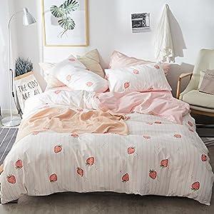 Fruits Strawberry Duvet Cover Set Twin Pink Fresh Kids Girls Bedding Set Cotton Striped Plaid Reversible Duvet Comforter…