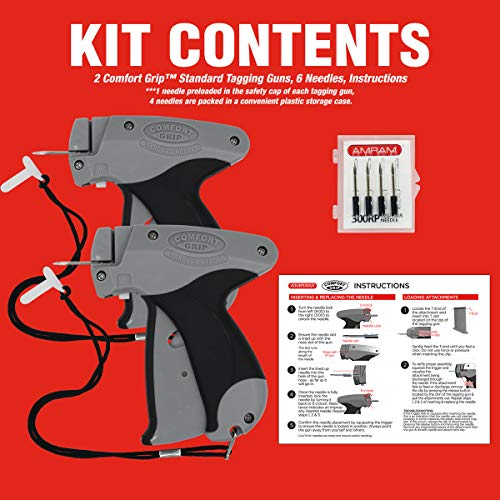 Amram Comfort Grip Professional Standard Price Tag Tagging Gun Kit for Clothing Includes 2 Tagging Guns and 6 Needles for Standard Clothing Tagging Applications Easy to Use