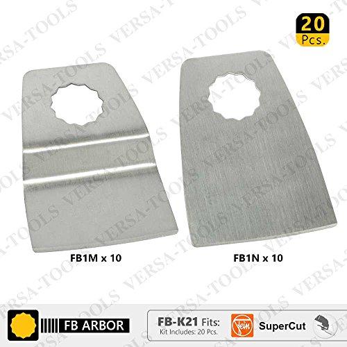 Versa Tool FB-K21 20 Pc 52mm Flush Cut (8mm Offset Mount) Stainless Steel Scraper Set for Fein Supercut Oscillating Tool by Versa-Tool