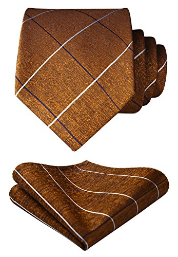 HISDERN Men's Check Dot Tie Handkerchief Wedding Party Necktie & Pocket Square Set Brown ()