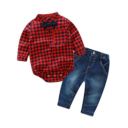 XIRUBABY Baby Boys' 2 Piece Jeans Shirt Clothing Set with Bowtie (90/13-18 Months, Red)