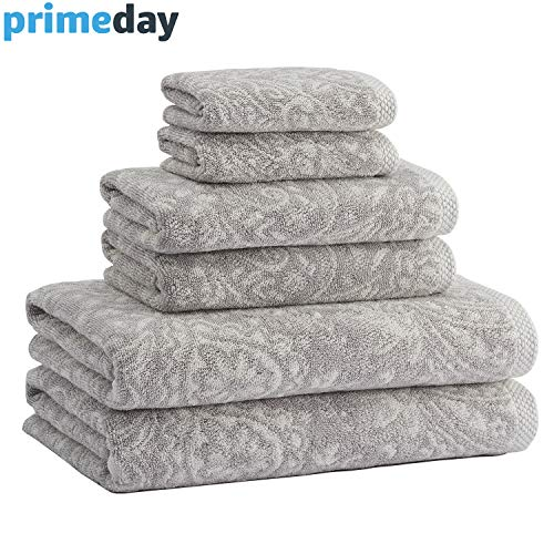 - Truly Lou Decorative 6 Piece Bath Towel Set - Luxurious Jacquard Woven Pattern Made with USA Cotton - Ultra Absorbent, Fast Drying, and Eco-Friendly - Durable & Soft Spa Quality Towels (Silver/Ivory)