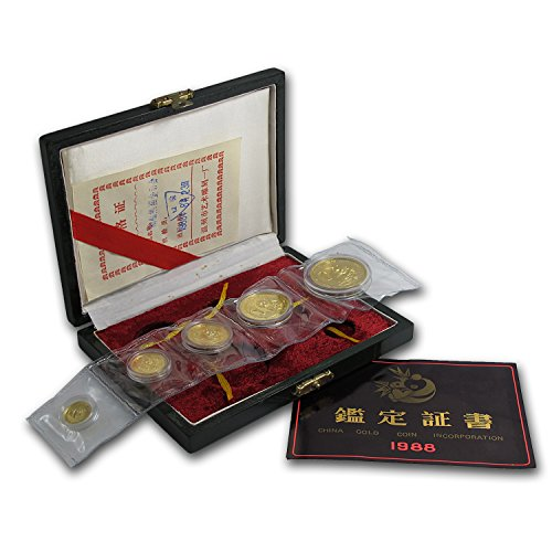 CN 1988 China 5-Coin Gold Panda Proof Set (In Original Box) About Uncirculated
