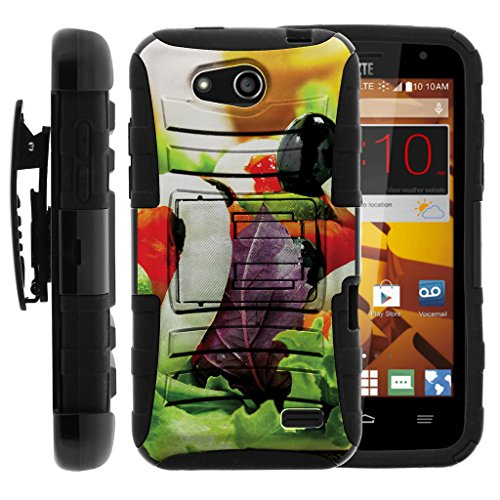 Overture Salad - TurtleArmor | Compatible for ZTE Overture 2 Case | ZTE Atrium | ZTE Scend [Hyper Shock] Armor Hybrid Hard Cover Kickstand Holster Belt Clip Case Fitted Silicone Food Image - Fresh Salad