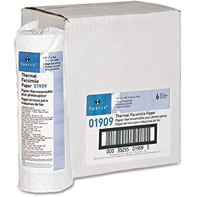 Sparco Facsimile Paper, 1-Inch Core, Sensitivity, 8-1/2 x 164 Inches, White (SPR01909), 6 rolls by Sparco
