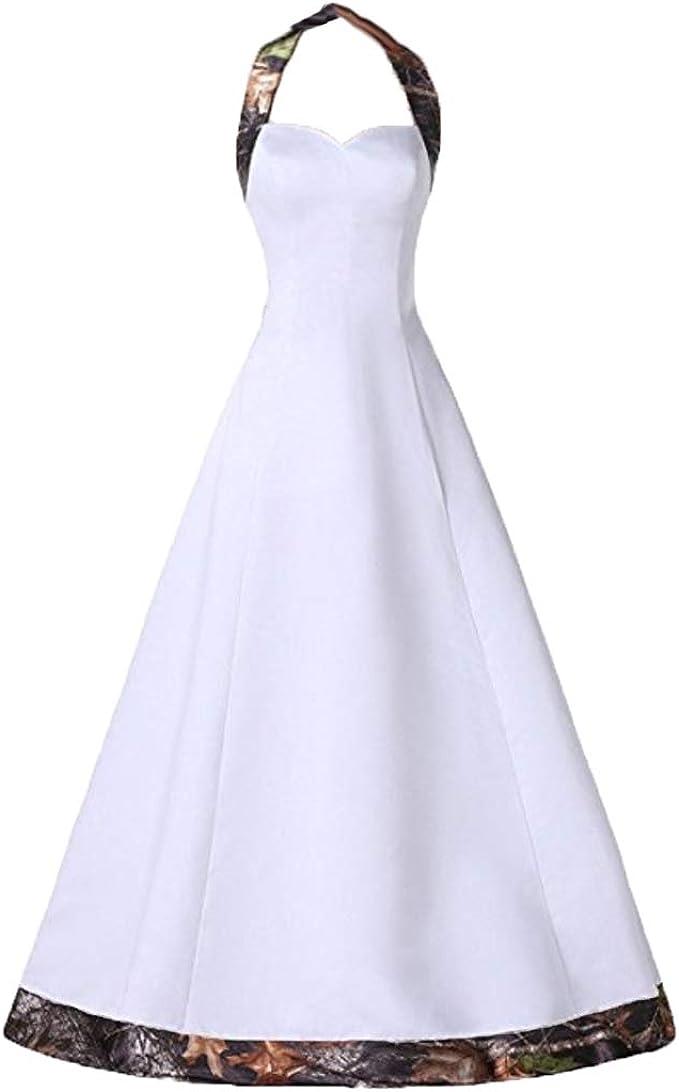 Macria Women S Vintage Camo Halter Wedding Dress Bridesmaid Gown At Amazon Women S Clothing Store