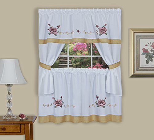 Algodon Double Border (Ben&Jonah Collection Rose Embellished Cottage Window Curtain Set 58x24)