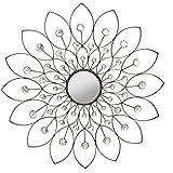 Carilo Bronze Rhinestone Flower Decorative Wall Mirror