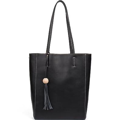 5fbc96912543 Amazon.com  BOSTANTEN Women Leather Hobo Handbags Tote Purse Top-handle  Shoulder Bag on Sale (1-black)  Clothing