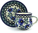 Polish Pottery 2 oz Espresso Cup with Saucer made by Ceramika Artystyczna (Blue Chicory Theme) + Certificate of Authenticity