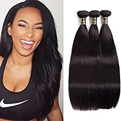 Uneed Hair Brazilian Virgin Hair Straight 3 bundles (14 16 18inches)300g Virgin Human Hair 100% Unprocessed Brazilian Straight Hair 8A Grade Human Hair Products Natural Color