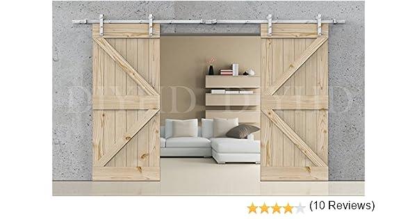 diyhd blanco Kit de puerta corrediza de granero madera pista de ...