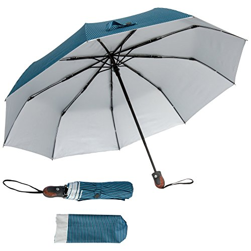 Automatic Open/Close Pinstriped Umbrella (Blue) - Features UV Protectant Liner