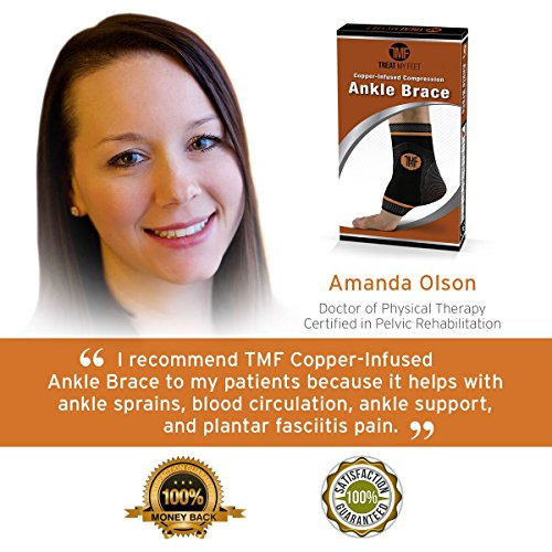Pair of Copper Infused Compression Ankle Brace, Silicone Ankle Support w/Anti-Microbial Copper. Plantar Fasciitis, Foot, Achilles Tendon Pain Relief. Prevent and Support Ankle Injuries & Soreness by Treat My Feet (Image #6)