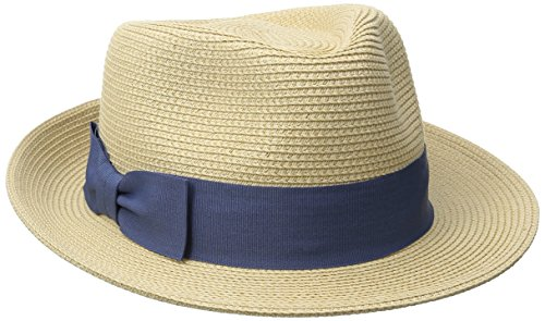 Hat Attack Women's Refined Braid Fedora Classic Bow Ribbon Trim, Natural/Blue, One Size