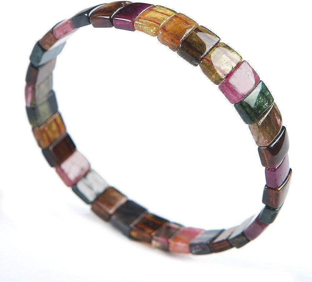 DUOVEKT Pulsera de cristal de turmalina colorida natural para mujeres y hombres, regalo de piedras rectangulares, joyería elástica de 9 x 7 x 4 mm, AAAAA