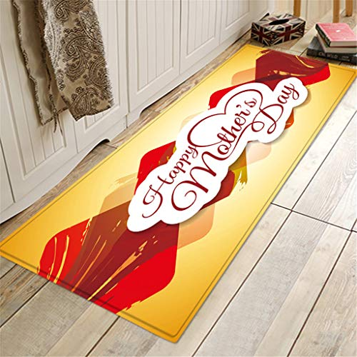 (OrchidAmor Happy Mother's Day Pattern Square Area Rug FLeece Kitchen Bathroom 40X120CM 2019 New)