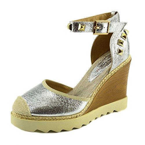 Kick Footwear - Womens High Wedge Heel Ankle Strap Ladies Sandals Hessian Summer Platforms Silver Af8668 bEtZkDFf6