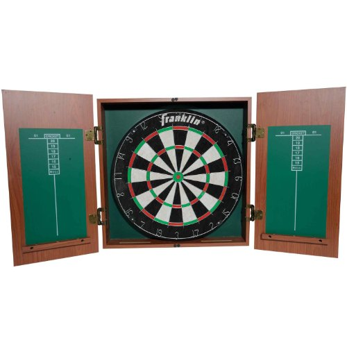 Franklin Sports Bristle Dartboard with Cabinet (Bristle Dartboard Wood Cabinet)