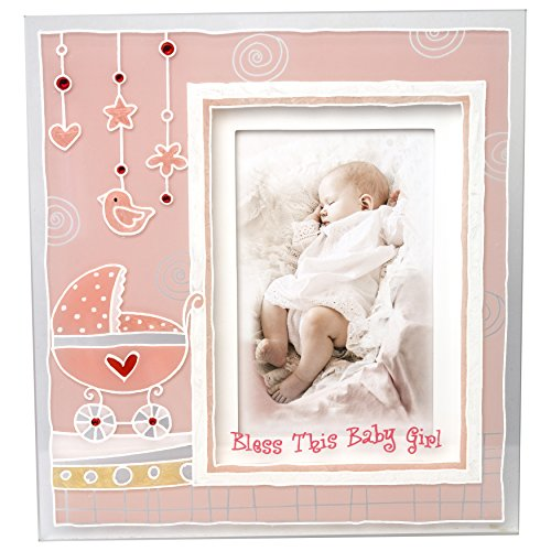 Madison Frame (Lauren Madison Girls Christening Baptism Painted 3D Glass Frame,)