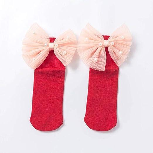 HPPL Calcetines niñas con Lazos, Calcetines de algodón hasta el ...