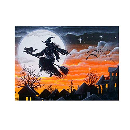 Numkuda Halloween Witch 5D DIY Full Diamond Painting Embroidery Cross Craft Stitch Decor]()