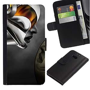 A-type (Robot mujer abstracta) Colorida Impresión Funda Cuero Monedero Caja Bolsa Cubierta Caja Piel Card Slots Para HTC One M8