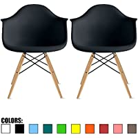 2xhome - Set of Two (2) Black - Eames Style Armchair Natural Wood Legs Eiffel Dining Room Chair - Lounge Chair Arm Chair Arms Chairs Seats Wooden Wood Leg Wire Leg
