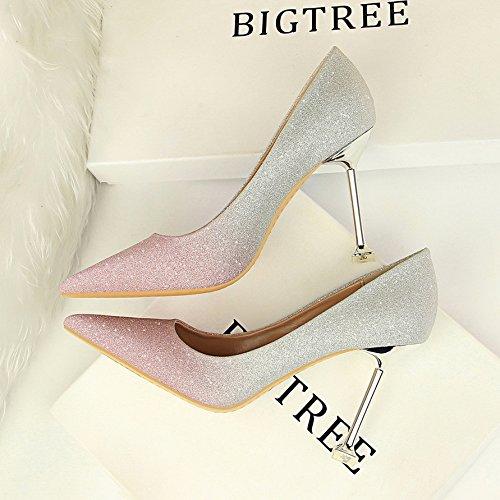 solo con de elegante Rosa fresco plata gradiente y Shoes Heel fina de de Zapatos Qiqi Xue Pequeño punta alta versátil zapatos bodas y de F6qXaW