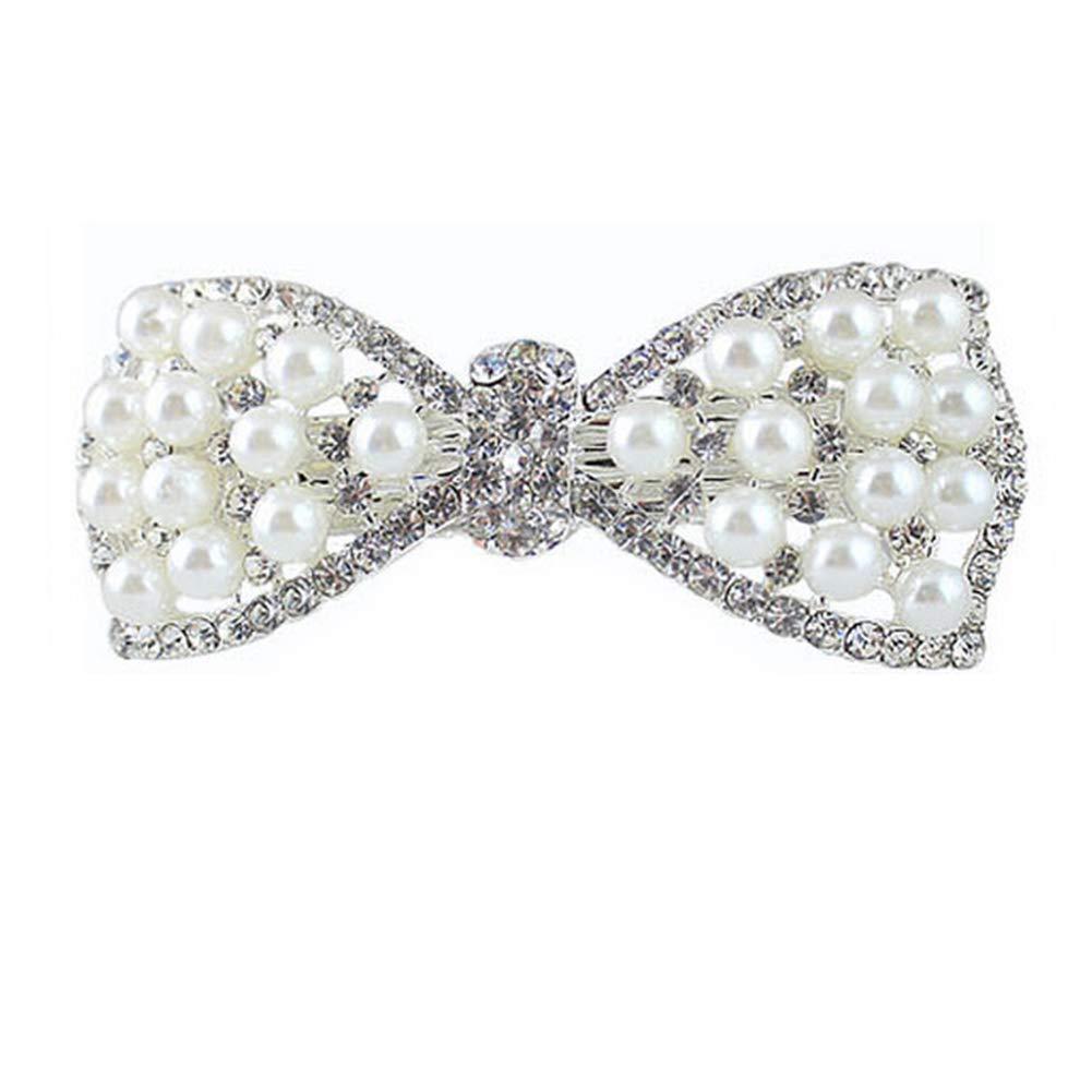 meiyuan Women Elegant Bowknot Imitation Pearl Rhinestone Barrette Hair Clip Silver