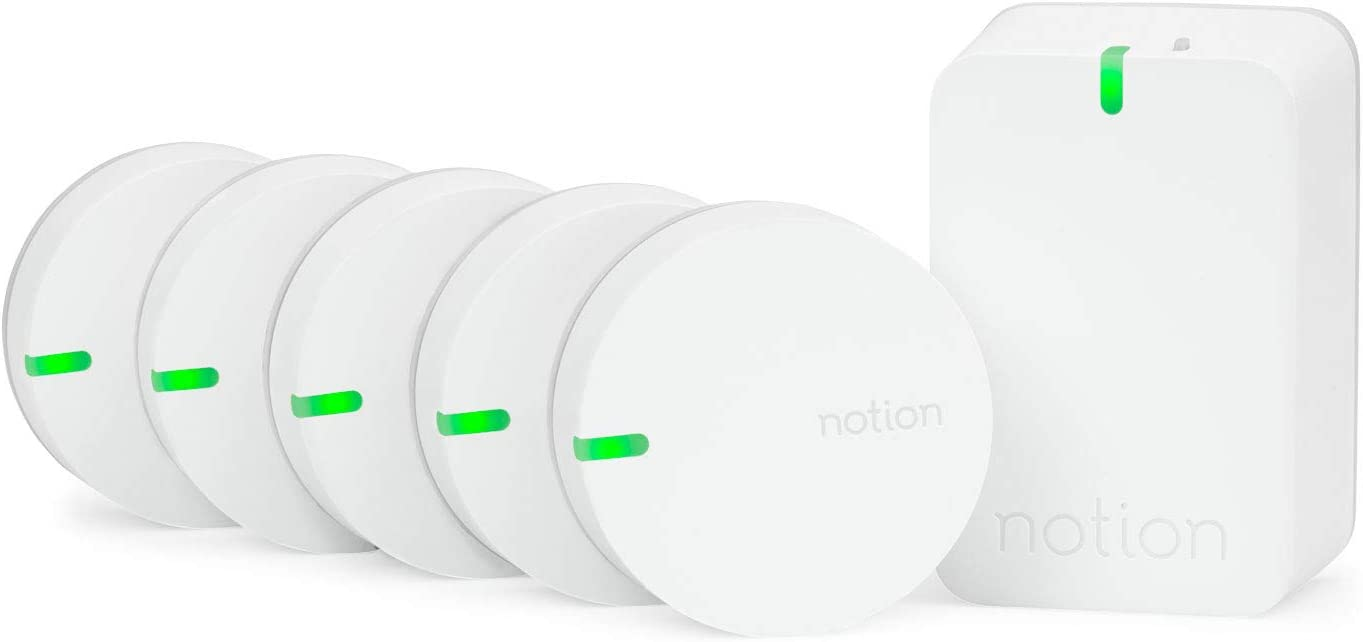 Notion Smart Home System (Gen 3): Monitor and Receive Alerts on Doors, Windows, Water Leaks, Sounding Alarms. Works with Nest (1 Bridge + 5 Wireless Sensors)
