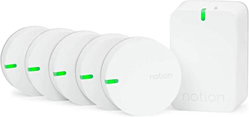 Notion Smart Home System Gen 3 Monitor and Receive Alerts on Doors, Windows, Water Leaks, Sounding Alarms. 1 Bridge 5 Wireless Sensors