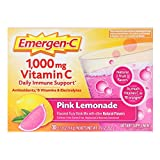 Emergen-C (30 Count, Pink Lemonade Flavor, 1 Month Supply) Dietary Supplement Fizzy Drink Mix with 1000mg Vitamin C, 0.33 Ounce Packets, Caffeine Free For Sale