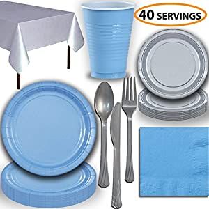 Disposable Party Supplies, Serves 40 - Light Blue and Silver - Large and Small Paper Plates, 12 oz Plastic Cups, heavyweight Cutlery, Napkins, and Tablecloths. Full Two-Tone Tableware Set