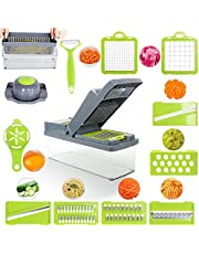 14 in 1 Vegetable Chopper Mandoline Slicer Dicer Peeler Onion Chopper, Stainless Steel Food Chopper for Onion, Garlic, Carrot, Potato, Tomato, Fruit, Salad with Colander Basket And Container