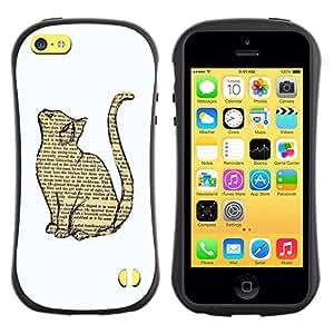 "Pulsar iFace Series Tpu silicona Carcasa Funda Case para Apple iPhone 5C , Gato libro Dibujo inteligente Minimalista Blanca"""