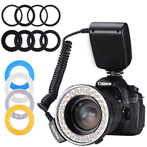 (Ring Flash,Emiral 48 Macro LED Ring Flash Bundle with LCD Display Power Control, Adapter Rings and Flash Diffusers for Camera and Other DSLR Cameras)