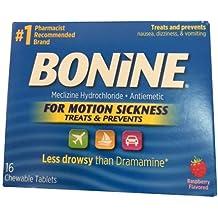 Bonine Motion Sickness Raspberry 16 Tablets (2 Pack)
