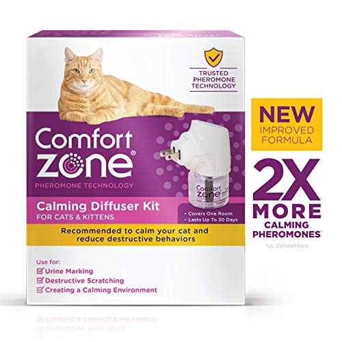 Comfort Zone 2X More Pheromones Formula Calming Diffuser Kit for Cat Calming | Multi Cat and Calming Formulas | Single Diffuser Kit, 1 Diffuser, 1 Refill