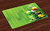 Ambesonne St. Patrick's Day Place Mats Set of 4, Wood Design with Shamrock Lucky Clovers Pot of Gold Coins and Horse Shoe, Washable Fabric Placemats for Dining Room Kitchen Table Decor, Fern Green