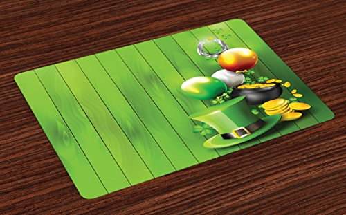 - Ambesonne St. Patrick's Day Place Mats Set of 4, Wood Design with Shamrock Lucky Clovers Pot of Gold Coins and Horse Shoe, Washable Fabric Placemats for Dining Room Kitchen Table Decor, Fern Green