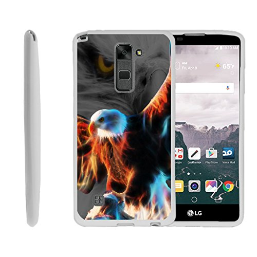 MINITURTLE Case Compatible w/ LG Stylus 2 Case, LG Stylo 2, LS775 Case [FLEX FORCE] Slim Durable TPU Sleek Bumper w/ Art Pattern Designs Blazing Eagle