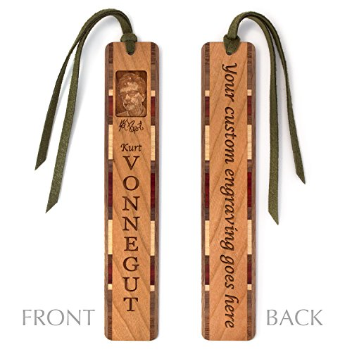 Personalized Engraved Wooden Bookmark - Author - Kurt Vonnegut #2 with Tassel - Search B06ZXY44G2 to see non personalized version.