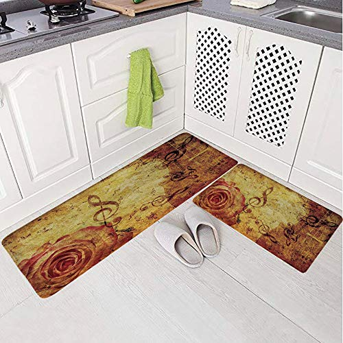 2 Piece Non-Slip Kitchen Mat Rug Set Doormat 3D Print,Design with a Big Rose and Treble Clefs Music,Bedroom Living Room Coffee Table Household Skin Care Carpet Window Mat,
