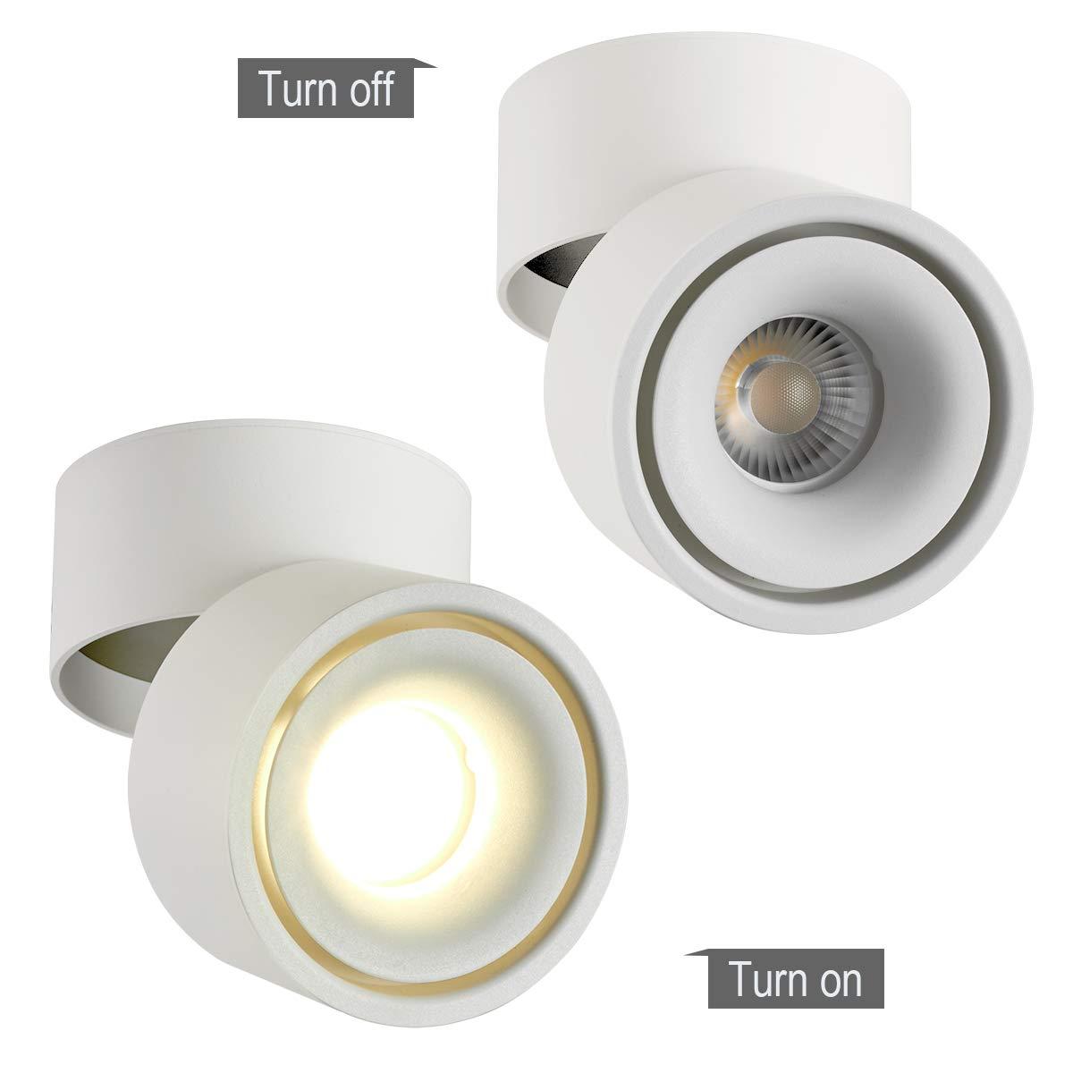 White-4000K Dr.lazy Indoor 10W LED Spotlight 360/°Adjustable Ceiling Spots Downlight//Surface Mounted COB Lighting LED//10X10CM//Aluminum Wall Lamp or Spot Light