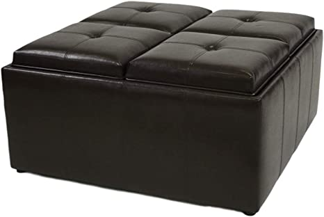 Viscologic Collection Square Coffee Table Storage Ottoman With 4 Serving Trays Dark Brown Amazon Ca Home Kitchen
