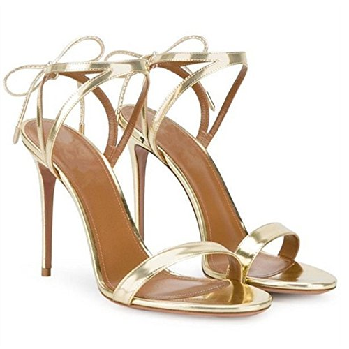 TAOFFEN Women Classic Party Stiletto Heel Ankle Strap Slingback Lace Up Sandals Gold TaI42