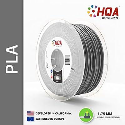 HQA PLA+ 3D Printer Filament, Silver, 1.75MM, 1KG Spool, [100% USA NatureWorks 4043D]